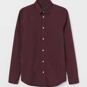 Men's Wine H&M Dotted Dress Shirt Slim Fit